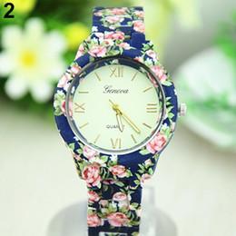 Ginebra ceramica relojes mujeres online-Popular Nation Wind Mujer Ginebra Floral Print Estilo de cerámica Relojes Reloj de pulsera de cuarzo analógico No 8 5uvs 89