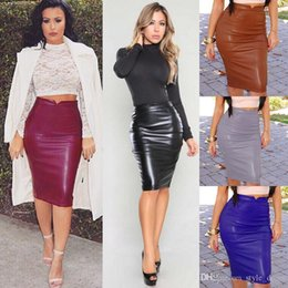 9eaeab9c04e Plus2019 Women PU Leather Skirt High Waist Bodycon Nightclub Knee Length  Slim Package Hip Pencil Skirt