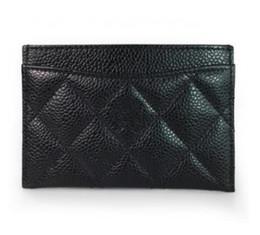 Couro caviar acolchoado on-line-Cartões de crédito caso titular do cartão preto manta 11.5X8 cm Clássico Preto acolchoado Caviar Pele De Carneiro pacote de Cartão de couro feminino