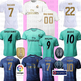 Camicia real madrid ronaldo online-Real Madrid RONALDO Jersey di calcio 19 20 N E camicia di calcio Y M A R J R # 10 ISCO RAMOS BENZEMA MODRIC BALE