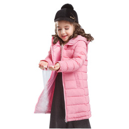 korean kids clothes down Promo Codes - Kids Jacket Winter Girls Hooded Slim Down Cotton Long Outerwear Casual 4-9 Years Fashion Korean Autumn Clothes Boys Coat 2019