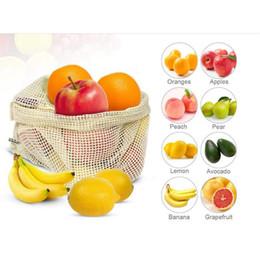 Maglia di maglia piccola online-Premium Riutilizzabile Mesh / Produce Bags Sacchetti di verdura in cotone biologico trasparente Sacchetto di frutta Sacchetto di immagazzinaggio di generi alimentari Grande Medio Piccolo