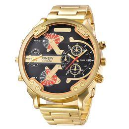 Handgelenkzonen uhren online-XINEWBrand XINEW Mens Large Dial 2 Zeitzone Japan Quarzuhr Mode Luxus Edelstahl Uhren Big Wrist Montre Homme Grosse # 70