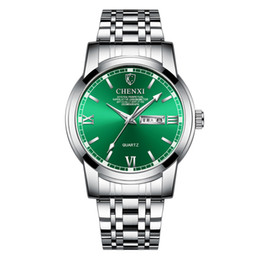 Китайские календари онлайн-Новый мужской стальной ремешок для часов Водонепроницаемый круглый циферблат Календарь Китайский еженедельный кварцевые часы