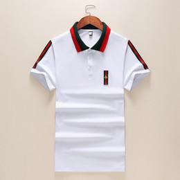 t-shirt double couleur Promotion 19SS nouvelle saison concepteur polos hommes rouge vert double couture de couture revers blanc mens designer t shirts mode casual designer chemises