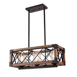 lampadari illuminazione rustico Sconti Lampadario in legno in stile europeo retrò a vento industriale a soppalco Rettangolo in metallo in metallo Lampada a sospensione in legno creativo ristorante illuminazione soggiorno