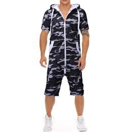ternos de camuflagem masculinos de moda Desconto 2019 novo clássico de impressão de camuflagem dos homens casual slim de uma peça terno moda confortável com capuz de manga curta shorts de uma peça de roupa