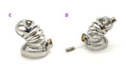 Cinturones de castidad con pinchos online-304 acero inoxidable Chastity Device Con uretral Suena catéter y anillo de pico 3 Tamaño de la jaula del martillo Elija Hombre Cinturón de castidad