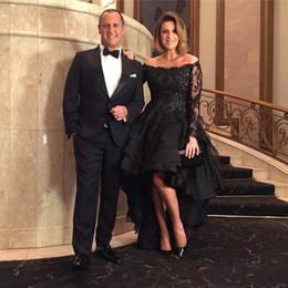Vestidos negros para bodas invitados online-Sparkly Hi-lo vestidos de fiesta negros fuera del hombro con lentejuelas Larga Ocasión especial Bodas Vestido de invitados Más tamaño vestidos de noche