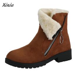 2cf1bf1e686d67 2019 meistverkaufte high heels Frauen einfarbig suqare heels reißverschluss  wildleder warm schnee stiefel hohe qualität vintage