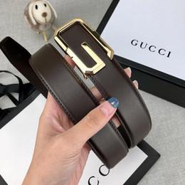 fibbia oro marrone cintura Sconti Fashion New Designer Cinture Luxury Belt Fashion Cinture Uomo Donna Casual G Smooth Gold Buckle Marrone Colore Belt Larghezza 34mm Alta qualità con scatola