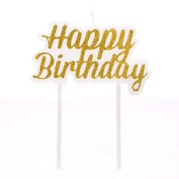 Fournitures pour la décoration des gâteaux de fête 1pc Or / Argent Nouvel or brillant poudre Joyeux anniversaire Gâteau local Décoration Lettre Bougie Bébé ? partir de fabricateur