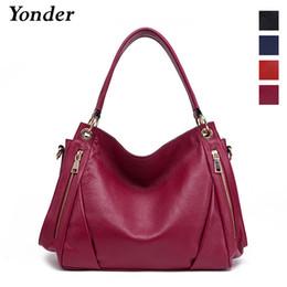 Yonder brand women handbag genuine leather bag large crossbody messenger  bags fashion shoulder bag female Black Blue Red Wine e69cfa49d837c