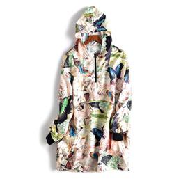 187d8841b85f Nouveau début du printemps 2019 encre couleur grand papillon impression  capuche veste à manches longues femmes occasionnel long manteau