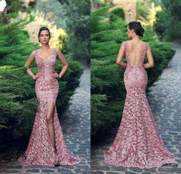 2019 fabuloso vestido de baile personalizado feito 2019 Fabuloso Sereia Lace Backless Vestidos de Noite Querida Pescoço Lado Dividir Vestido Formal Até O Chão Custom Made Vestidos de Baile fabuloso vestido de baile personalizado feito barato