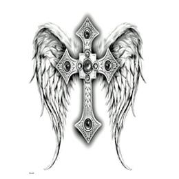 Dessins de tatouages croix en Ligne-Full Back The Cross Tattoo Temporaire Imperméable Hommes Femmes Ailes de Dieu Body Art Big The Flash Tattoo Designs