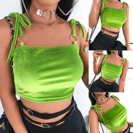 Camis verde on-line-Hot Mulheres Verão Sexy Tanque Cortar Tops Top magro mangas Vest Clube Partido Verde Bandage camis