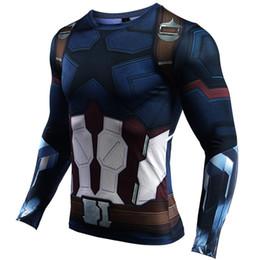 Camisas de manga longa de super-herói on-line-Mens camisa de compressão superhero capitan américa homem de ferro 3d camiseta marca clothing homens de fitness t-shirt de manga longa