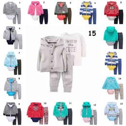 Neonato manica lunga ricamato a righe con cappuccio + pagliaccetto + pantaloni 3 pezzi Abbigliamento neonato Ragazza Outfit Toddler Spring Clothing da