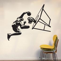 Pegatina removible de baloncesto online-Baloncesto Dunk Deportes Arte Pegatinas de pared A prueba de agua calcomanía de vinilo Wallpapers puede ser extraíble casa dormitorio fondo pegatinas decorativas