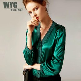 Шелковые блузки онлайн-High Quality Green Silk Blouses 2019 Spring New Office Lady Style Hot Sale Cotton Lace Trim Patchwork Long Sleeve Satin Blouse