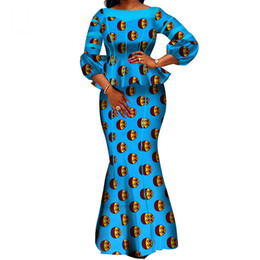 top boats Promo Codes - Hight Quarlity 2019 African Women skirt Set Dashiki Cotton Crop Top and Skirt African clothing Good Sewing Women Suits WY3710