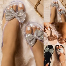 bow jelly wholesale Promo Codes - Women Indoor Women Slippers Bow Flip-Flops Flash Flats Slippers Rain Jelly Shoes Bow-knot Bling Home For Men Zapatos