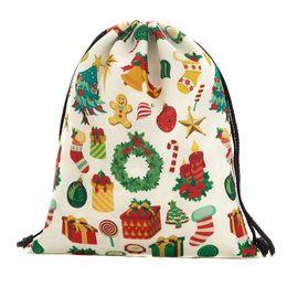 ae5a77b3701f 39x30cm Harajuku Cute Cloth Drawstring Bags Canvas Kawaii Cartoon Christmas  Storage Bags Backpack 3d Printed Womens Gift Bag