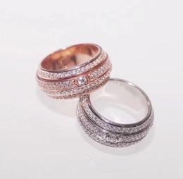 2019 cerchio d'ottone Nuovo modo di arrivo Lady Brass Four Circles Full Diamond Rotating 18k Placcato oro Fidanzamento Anelli di nozze 2 Colore Size6-8 cerchio d'ottone economici