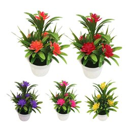 gardening potting table Coupons - Creative Mini Artificial Flower Potted Plant Lotus Bonsai Wedding Party Garden Home Resturant Table Decor Artificial Plants