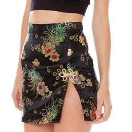 3e752a5c04 Sexy Chinese Style Floral Embroidery 2017 women skirt shorts candy colors  split side elegant Party Club mini skirt Summer jupe D19011501
