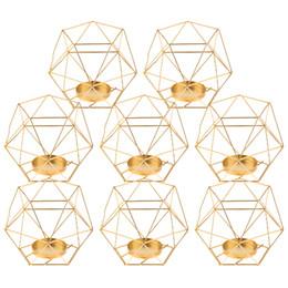 2019 velas vermelhas de natal Pack-8 3d Geométrica Luz Do Chá Castiçais Stands Centrais Do Casamento Home Decor, ouro Y19062803