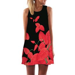 Женская одежда онлайн-BNC Черный Красный Цветочный Принт Платье Женская Мода Dressess Рукавов Повседневная Свободные Летнее Платье A-Line Платье Vestidos Mujer 2019