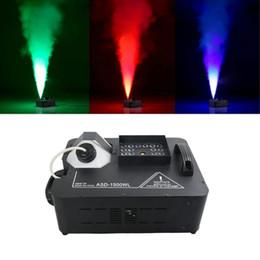 Máquina de niebla etapa online-Máquina de humo LED 1500W RGB 3in1 Máquina de humo inalámbrica y DMX512 con luces de escenario 24X9W Máquina profesional DJ Bar Hogar Fogger