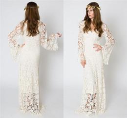 2019 vestido de noiva de tafetá sexy fora do ombro Praia Bohemian Vintage Vestido de Noiva 2019 BELL Lace luva Crochet Hippie vestido de casamento até o chão vestidos de noiva Boho