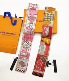 Zwillingsschals online-Designer-Schal Damen schlanke schmale Tasche Griff Seidenschal doppelseitig bedrucktem Twill Satin Marke kleines Band Schal