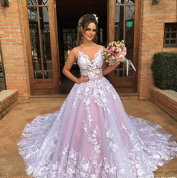 wedding dress flowered train Coupons - 2019 Colorful Wedding Dresses spaghetti v neck with amazing lace appliques court train bridal gowns custom made plus size vestido de novia