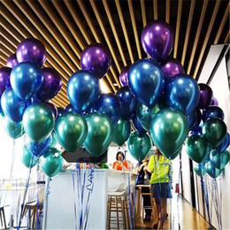 Palloncini di nozze viola online-30pcs palloncino metallico lattice metallo cromato palloncini aria elio colorato blu verde viola palloncini per la cerimonia nuziale buon compleanno