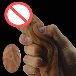 doppio negozio di sesso dildo Sconti Realistico dildo di aspirazione doppio strato silicone maschio falso pene giocattoli del sesso per le donne sex shop masturbatore grande tocco di pelle dick