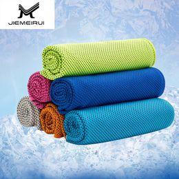 2019 toalha de fibra Sólida Esportes Toalha 7 Cores Superfine Fibra Cool Down Toalha de Gelo Verão de Alta Qualidade Macio Absorvente Esportes Ao Ar Livre Aptidão Toalha toalha de fibra barato