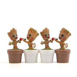 Poupées de pot en Ligne-Gardiens de la galaxie résine jouets de poupée 2019 nouveau film de dessin animé Action Figure petit pot de fleur Groot Jouets cadeau d'enfant 8 styles C6734