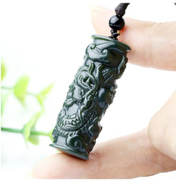 pilastri intagliati Sconti Naturale Hetian Jade Dragon Pillar zodiaco ciondolo della collana di fascino gioielli accessori moda Mano-Intagliata Uomo Donna Luck Amuleto