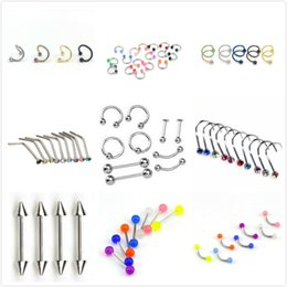Бровей пирсинг онлайн-10pc Steel Belly Button Piercings Ear Stud Segment Ring Nose Ring Lip Eyebrow Piercings Industrial Barbell Body Jewelry Piercing