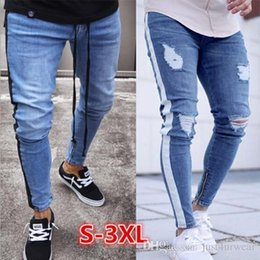 2019 cerniera jeans leg Mens jeans strappati Leg Zipper righe Biker denim dei pantaloni della matita maschio adatto pantaloni lunghi pantaloni slim Distressed Streetwear Pantaloni jeans da uomo cerniera jeans leg economici