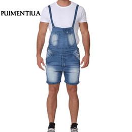 2019 combinaison en denim léger Puimentiua 2019 Jeans Bleu Clair Pour Hommes Avec Des Poches Slim Jumpsuit Homme Casual Denim Avec Pantalon Bretelles Réglables combinaison en denim léger pas cher
