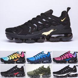 nike Vapormax Tn plus air max airmax 2019 TN PLUS zapatos corrientes para los hombres de las mujeres Negro Rojo Blanco velocidad antracita ultra blanca Negro 2019 mejores desde fabricantes