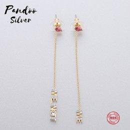 Párrafo de encanto online-PANDOO Fashion Charm Sterling Silver Original 1: 1 Copy, Romantic Letters Long Paragraph Wild Earrings Women Luxury Jewelry Gifts
