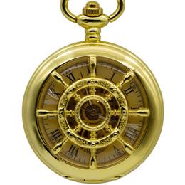 Orologi meccanici a vento online-Marca Steampunk scheletro numeri romani trasparenti mano wind up orologio da tasca meccanico FOB catena di moda PJX1382