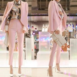 Anzug schief online-Mode Frauen Anzug Jacke und Hose Zweiteiler Anzug Achselzucken Schulter Schrägknopf Blazer Anzüge Slim OL Anzüge