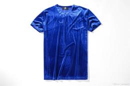 Vestiti di colore brillante online-Magliette in velluto estivo da uomo Fashion Solid Color Bright Hi-street Style Casual Tees Maniche corte Tops Clothing